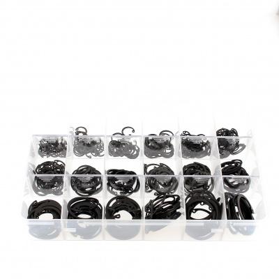 Confezione assortimento di anelli elastici interni acciaio nero Din 472